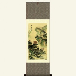 Chinese Painting Silk Scroll - The Great Wall