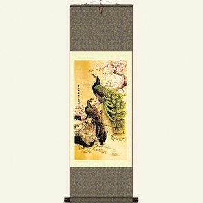 Silk Wall Scroll - Peacock Painting