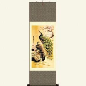 Silk Wall Scroll - Peacock Painting