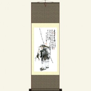 Silk Wall Scroll - Chinese Fisherman