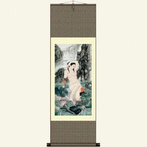 Chinese Silk Wall Scroll - Woman Bathing