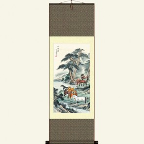 Chinese Silk Wall Scroll - Horse Painting