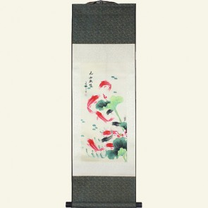 Chinese Silk Wall Scroll - Fish in Pond