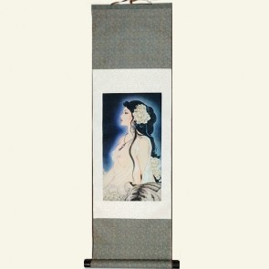 Pretty Girl Chinese Silk Wall Scroll