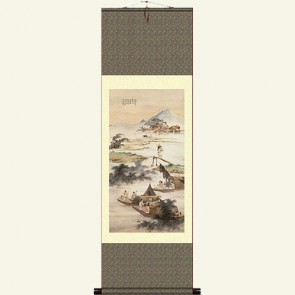 Ancient Landscape Painting Silk Wall Scroll