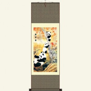 Chinese Panda Painting Silk Wall Scroll