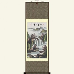 Landscape Painting Silk Wall Scroll - Waterfall