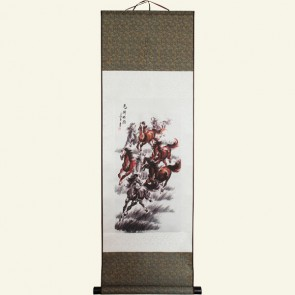 Chinese Wall Scroll - Galloping Horses of Fame and Success