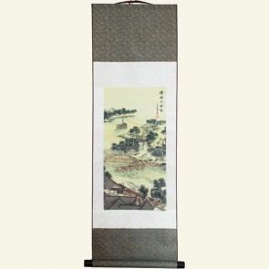 Chinese Wall Scroll of Village Bridge and Fishing Boat