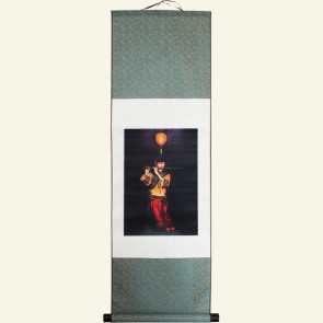 Silk Wall Scroll - Girl Playing Dizi Chinese Painting