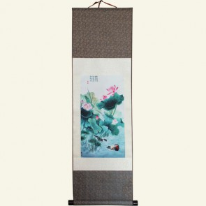Lotus Flower Chinese Painting Silk Scroll