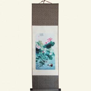 Lotus Flower Chinese Painting Silk Scroll