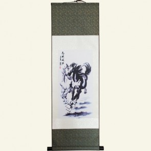 Chinese Horse Painting Silk Wall Scroll