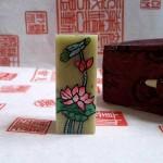 Custom Chop Carving: Hand-Painted Lotus Flower